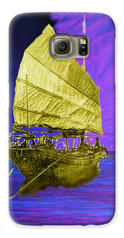 Nautical Galaxy S6 Case featuring the digital art Under Golden Sails by Seth Weaver