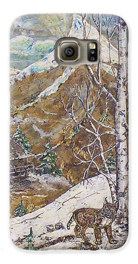 Snow Scene Galaxy S6 Case featuring the painting Unexpected Guest I by Phyllis Mae Richardson Fisher