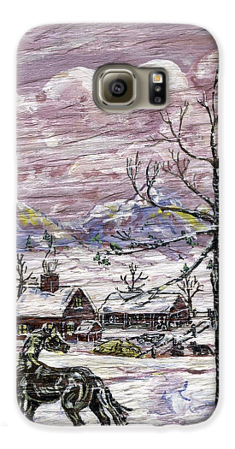 Snow Scene Galaxy S6 Case featuring the painting Unexpected Guest II by Phyllis Mae Richardson Fisher