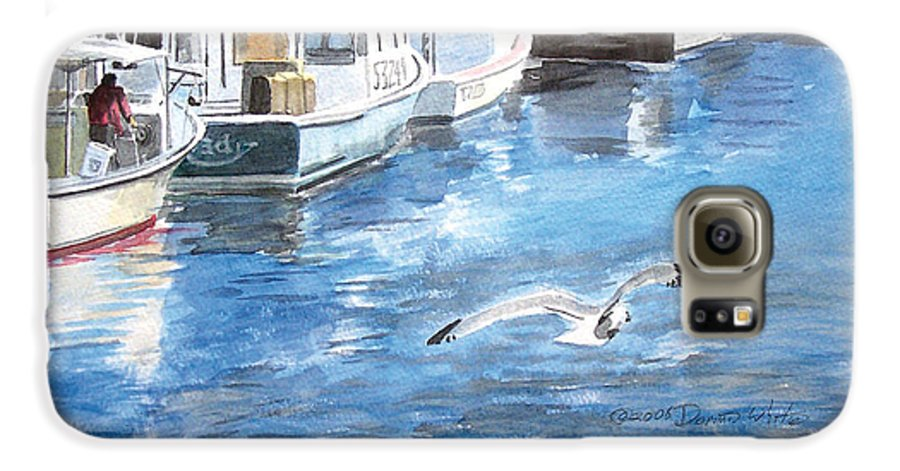Seagull Galaxy S6 Case featuring the painting Union Wharf by Dominic White