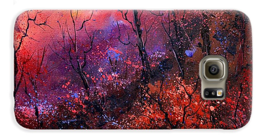 Wood Sunset Tree Galaxy S6 Case featuring the painting Unset In The Wood by Pol Ledent
