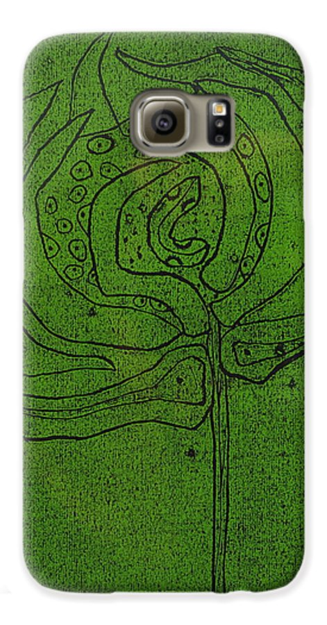 Green Galaxy S6 Case featuring the painting Untitled by Angela Dickerson