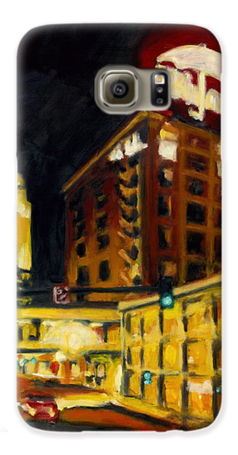 Rob Reeves Galaxy S6 Case featuring the painting Untitled In Red And Gold by Robert Reeves
