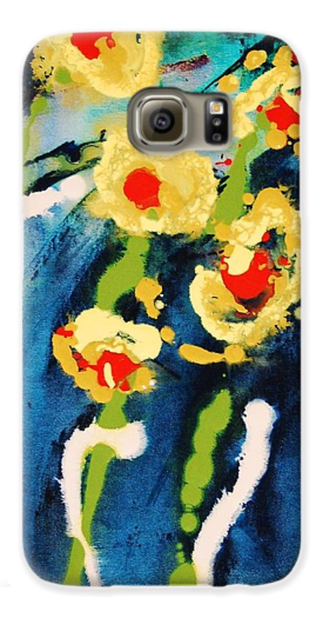 Abstract Galaxy S6 Case featuring the painting Urban Garden by Lauren Luna