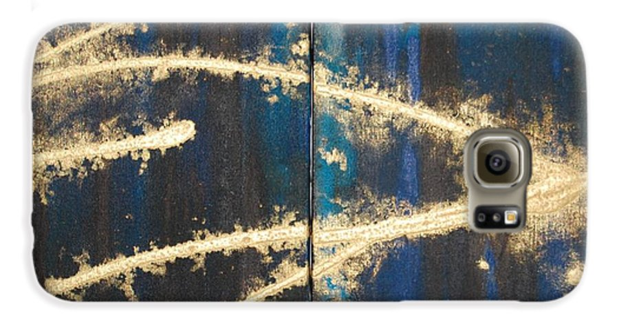 Night Galaxy S6 Case featuring the painting Urban Nightscape by Lauren Luna