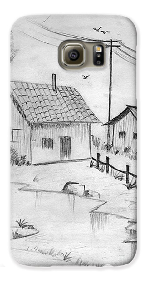 Pencil Drawing Galaxy S6 Case featuring the painting Urbanisation Of Villages - Gaon Chale Shahr Ki Oar by Tanmay Singh