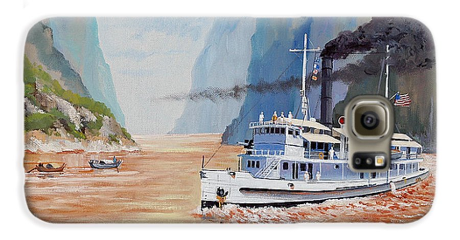 the Sand Pebbles Galaxy S6 Case featuring the painting Uss San Pablo On Yangtze River Patrol by Glenn Secrest