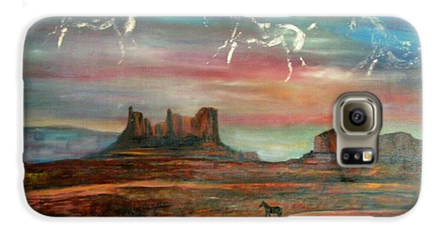 Landscape Galaxy S6 Case featuring the painting Valley Of The Horses by Darla Joy Johnson