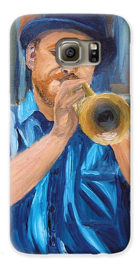 Musician Galaxy S6 Case featuring the painting Van Gogh Plays The Trumpet by Michael Lee