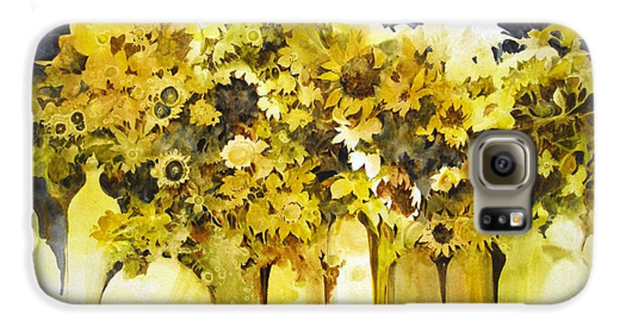 Yellow Flowers;sunflowers;vases;floral;contemporary Floral; Galaxy S6 Case featuring the painting Vases Full Of Blooms  by Lois Mountz