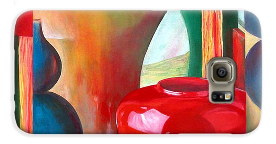Still Life Galaxy S6 Case featuring the painting Vases by Muriel Dolemieux