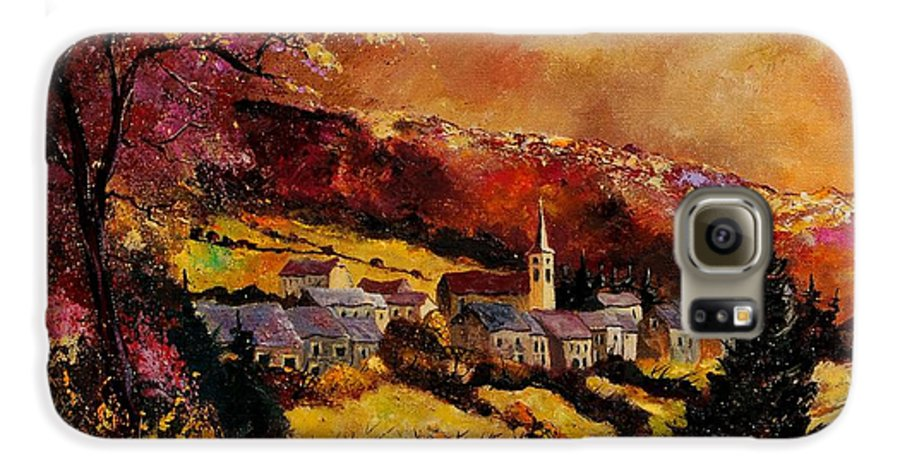 River Galaxy S6 Case featuring the painting Vencimont Village Ardennes by Pol Ledent