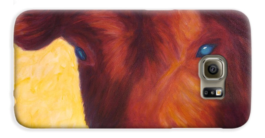 Bull Galaxy S6 Case featuring the painting Vern by Shannon Grissom