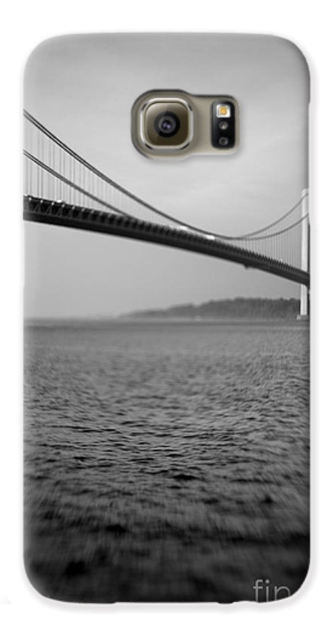 Black & White Galaxy S6 Case featuring the photograph Verrazano Bridge 1 by Tony Cordoza