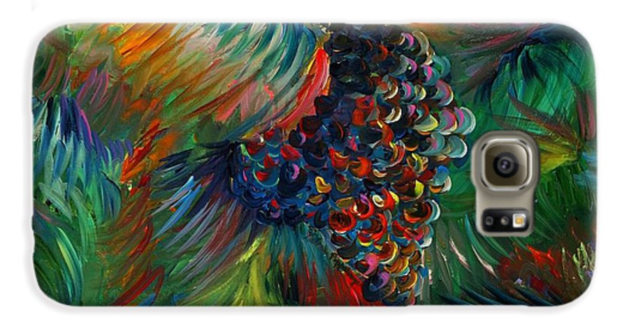 Grapes Galaxy S6 Case featuring the painting Vibrant Grapes by Nadine Rippelmeyer