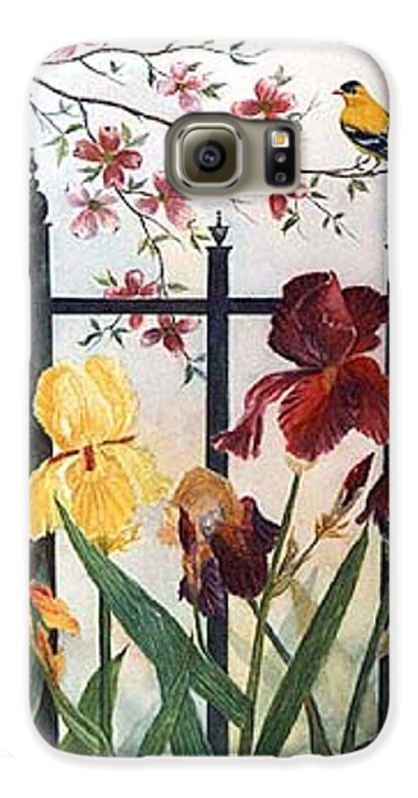 Irises; American Goldfinch; Dogwood Tree Galaxy S6 Case featuring the painting Victorian Garden by Ben Kiger