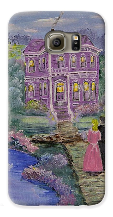 Victorian Galaxy S6 Case featuring the painting Victorian Romance 1 by Quwatha Valentine