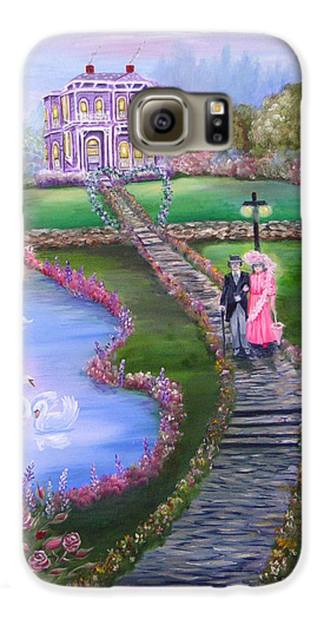 Victorian Galaxy S6 Case featuring the painting Victorian Romance 2 by Quwatha Valentine