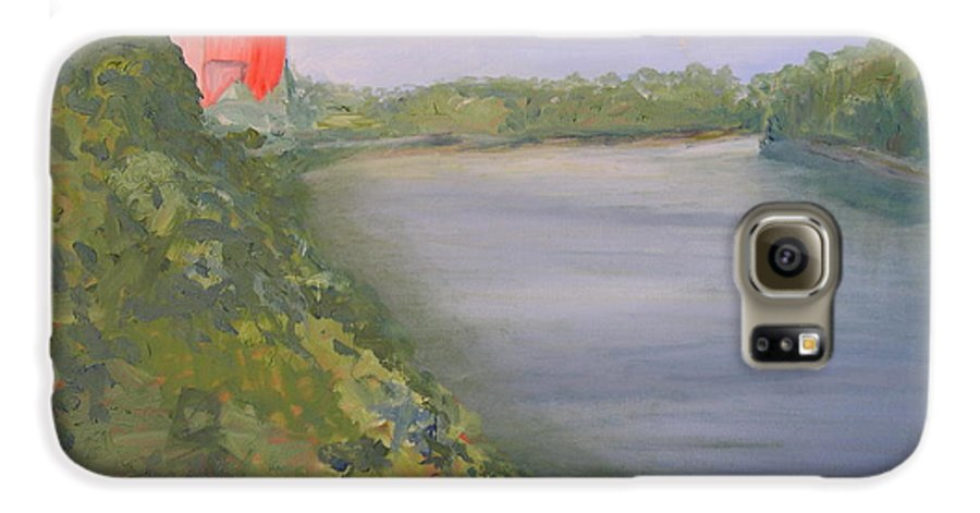 Landscape River Water Nature Galaxy S6 Case featuring the painting View From Edmund Pettus Bridge by Patricia Caldwell