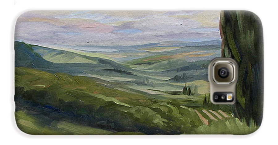Landscape Galaxy S6 Case featuring the painting View From Sienna by Jay Johnson