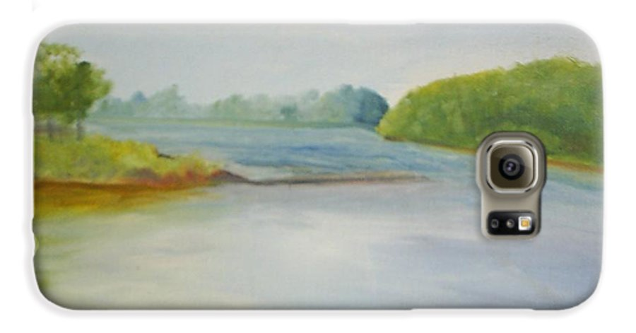 Delaware River Galaxy S6 Case featuring the painting View Of The Delaware by Sheila Mashaw