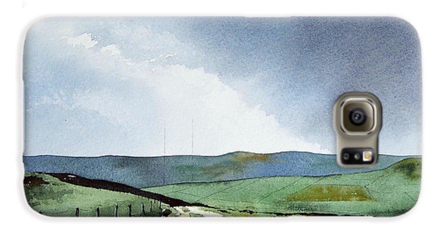 Landscape Galaxy S6 Case featuring the painting View Over Pole Moor by Paul Dene Marlor