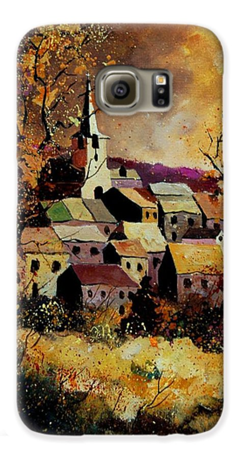 River Galaxy S6 Case featuring the painting Village In Fall by Pol Ledent