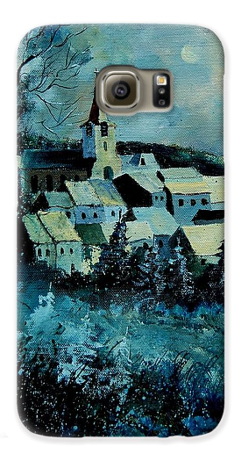 River Galaxy S6 Case featuring the painting Village In Winter by Pol Ledent