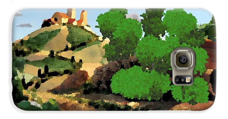 Village Old Road.trees.bushes.hill.littlt Tower.houses.farm.sky.clouds Galaxy S6 Case featuring the digital art Village. Tower On The Hill by Dr Loifer Vladimir