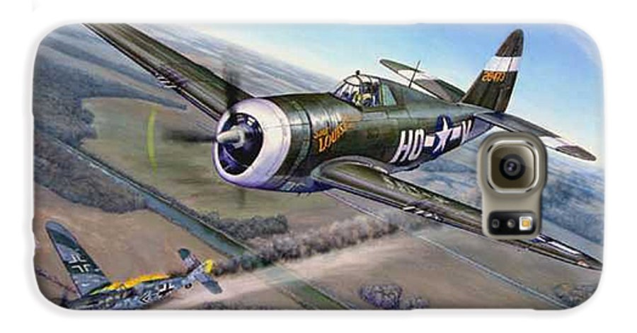 The 352nd Fighter Groups First Ace Shoots Down The German Ace Klaus Mietush On March 8th 1944 Galaxy S6 Case featuring the painting Virgil Meroney Downs Klaus Mietush by Scott Robertson