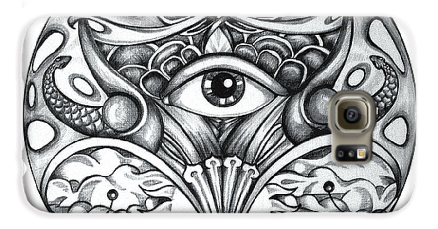 Eye Galaxy S6 Case featuring the drawing Vision by Shadia Derbyshire