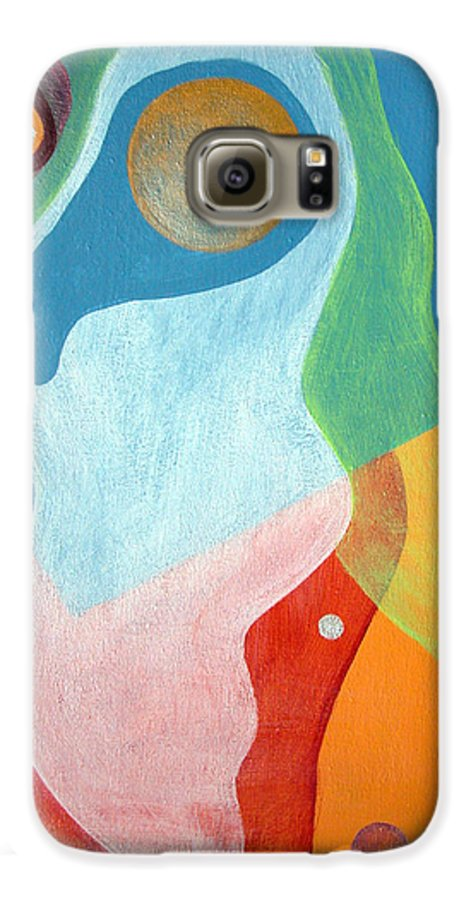 Abstract Galaxy S6 Case featuring the painting Voile by Muriel Dolemieux