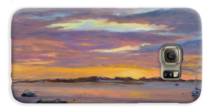 Landscape Galaxy S6 Case featuring the painting Wades Beach Sunset by Phyllis Tarlow
