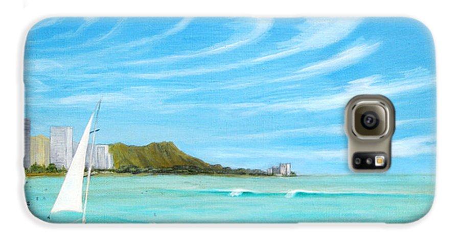 Waikiki Galaxy S6 Case featuring the painting Waikiki by Jerome Stumphauzer