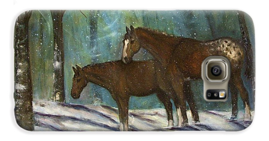 Horses Galaxy S6 Case featuring the painting Waiting For Spring by Darla Joy Johnson