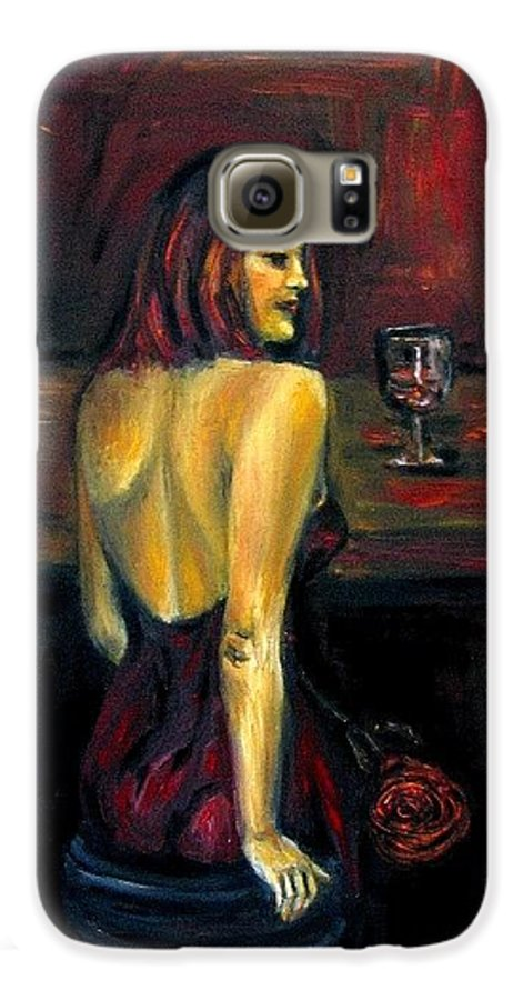 Woman Galaxy S6 Case featuring the painting Waiting... Oil Painting  by Natalja Picugina