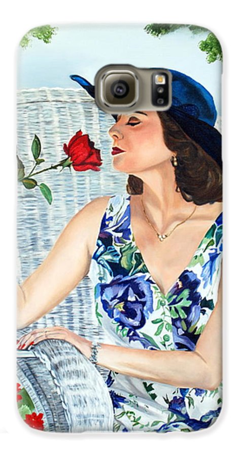 Woman Galaxy S6 Case featuring the painting Wake Up And Smell The Rose by Margaret Fortunato
