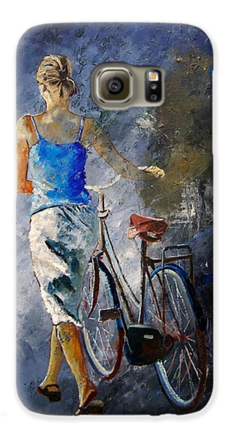 Girl Galaxy S6 Case featuring the painting Waking Aside Her Bike 68 by Pol Ledent