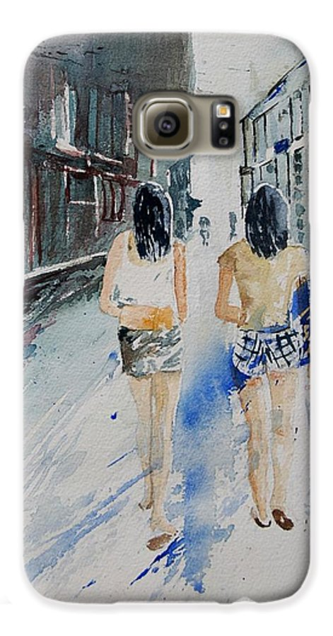 Girl Galaxy S6 Case featuring the painting Walking In The Street by Pol Ledent