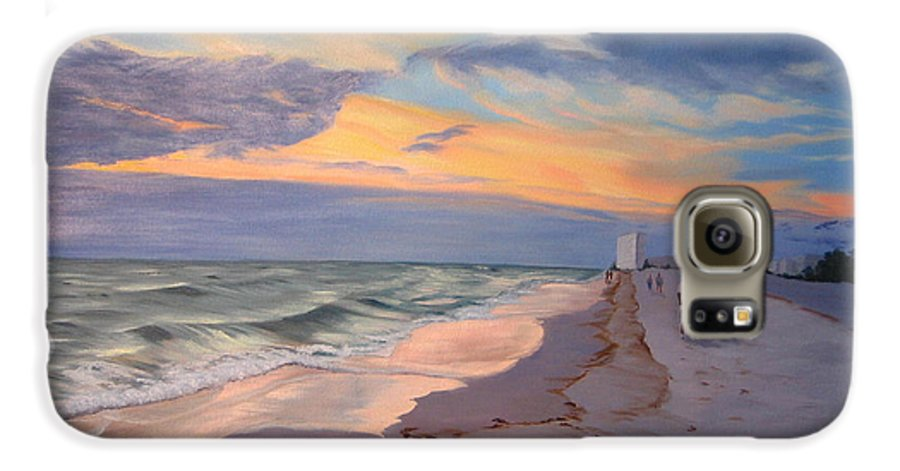 Seascape Galaxy S6 Case featuring the painting Walking On The Beach At Sunset by Lea Novak