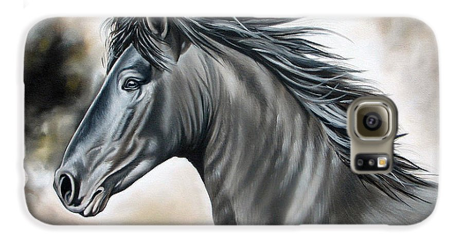Horse Galaxy S6 Case featuring the painting Wanapun by Ilse Kleyn