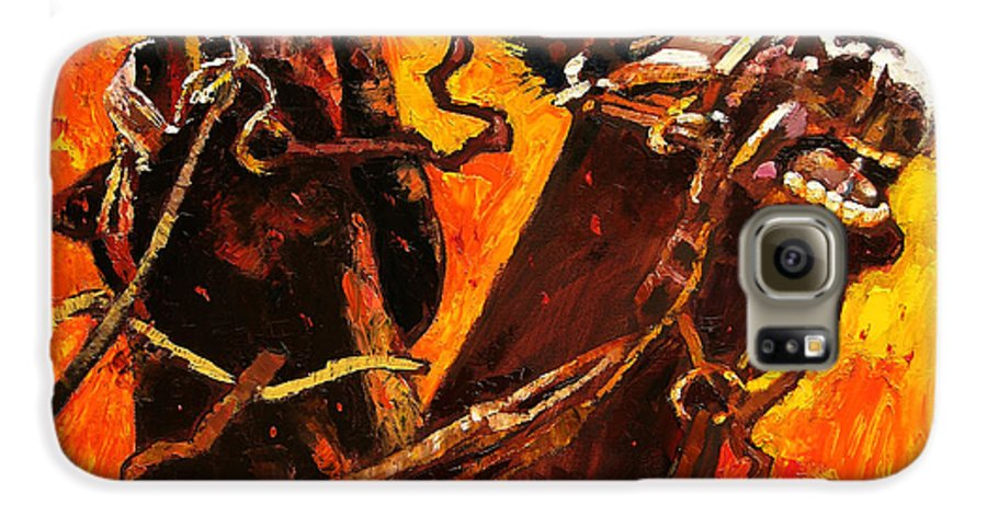 Horses Galaxy S6 Case featuring the painting War Horses by John Lautermilch