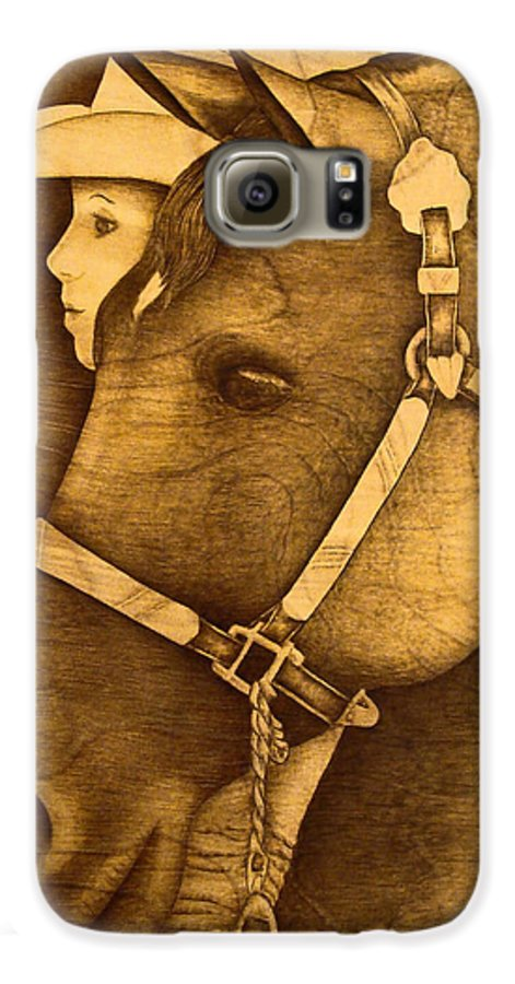 Pyrography;wood Burning; Horse; Western; Halter;cowboy; Hat; Rodeo; Galaxy S6 Case featuring the pyrography Watching The Competition by Jo Schwartz