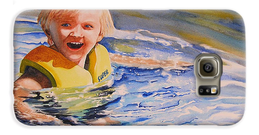 Swimming Galaxy S6 Case featuring the painting Water Baby by Karen Stark