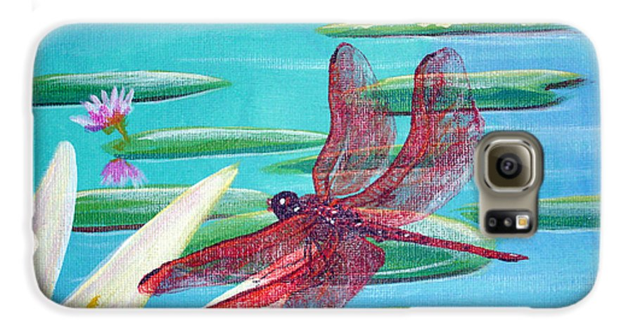 Water Galaxy S6 Case featuring the painting Water Lilies And Dragonfly by Susan Kubes