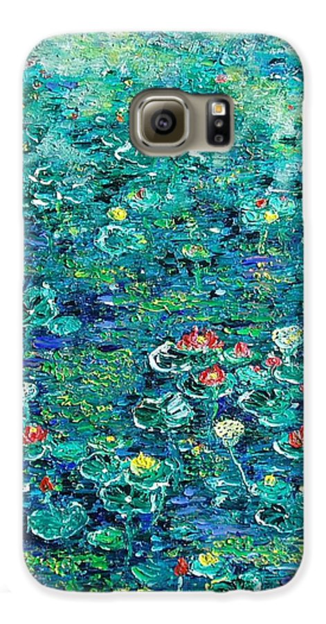 Water Lily Paintings Galaxy S6 Case featuring the painting Water Lilies Lily Pad Lotus Water Lily Paintings by Seon-Jeong Kim