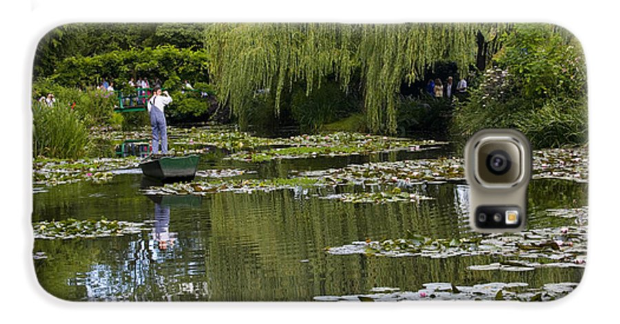 Monet Gardens Giverny France Water Lily Punt Boat Water Willows Galaxy S6 Case featuring the photograph Water Lily Garden Of Monet In Giverny by Sheila Smart Fine Art Photography
