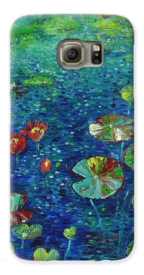 Lotus Paintings Galaxy S6 Case featuring the painting Water Lily Lotus Lily Pads Paintings by Seon-Jeong Kim