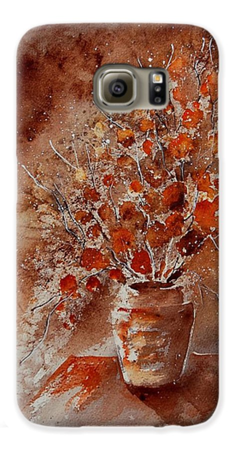 Poppies Galaxy S6 Case featuring the painting Watercolor Autumn Bunch by Pol Ledent