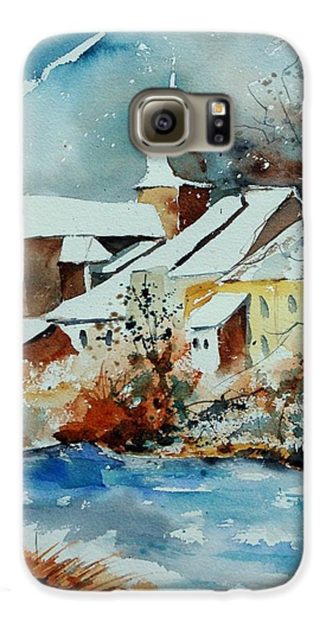 Landscape Galaxy S6 Case featuring the painting Watercolor Chassepierre by Pol Ledent